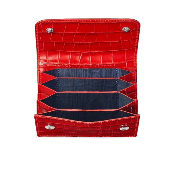 Accordion Credit Card Holder in Deep Shine Red Small Croc from Aspinal of London