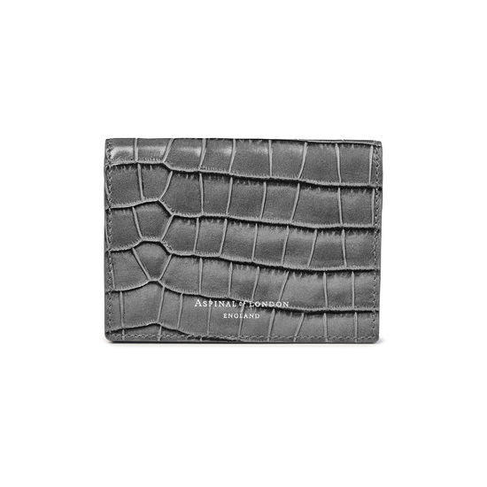 Accordion Credit Card Holder in Deep Shine Grey Small Croc from Aspinal of London