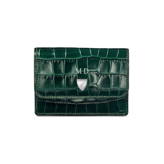 Accordion Credit Card Holder in Deep Shine British Racing Green Small Croc from Aspinal of London