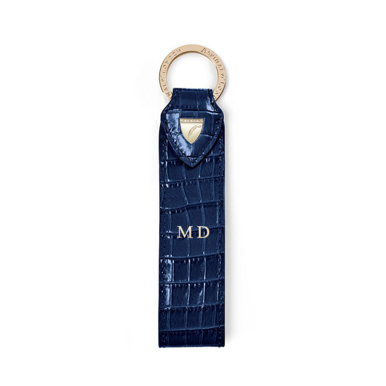 Leather Loop Keyring in Deep Shine Midnight Blue Small Croc from Aspinal of London