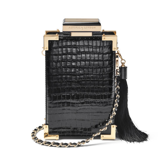 Sabine Portrait Trunk Clutch in Deep Shine Black Small Croc from Aspinal of London