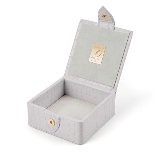 Stud Box in Deep Shine Dove Grey Small Croc from Aspinal of London
