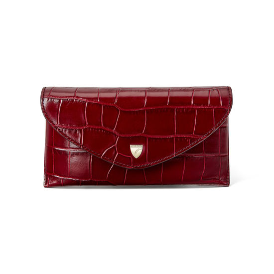 Sunglasses Case in Deep Shine Bordeaux Croc from Aspinal of London