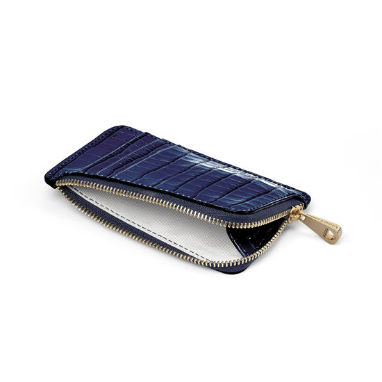 Zipped Coin & Card Holder in Deep Shine Midnight Blue Small Croc from Aspinal of London