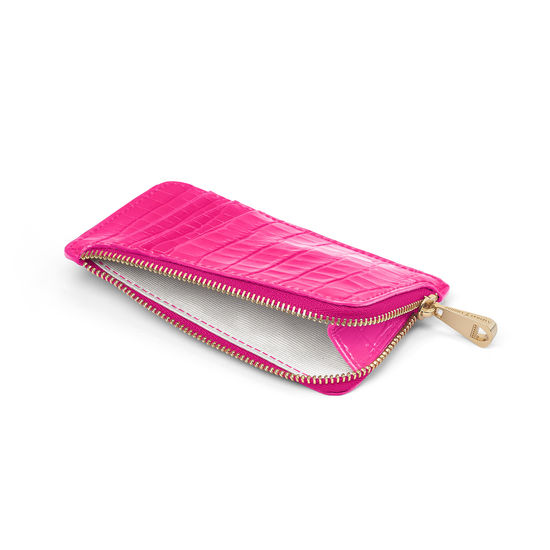Zipped Coin & Card Holder in Deep Shine Penelope Pink Small Croc from Aspinal of London
