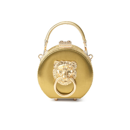 Lion Micro Hat Box in Multi Gold Moire Leather from Aspinal of London