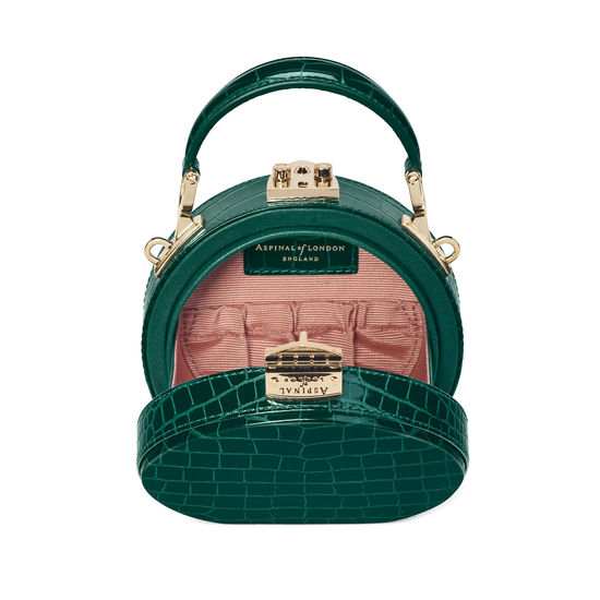 Micro Hat Box in Evergreen Patent Croc from Aspinal of London