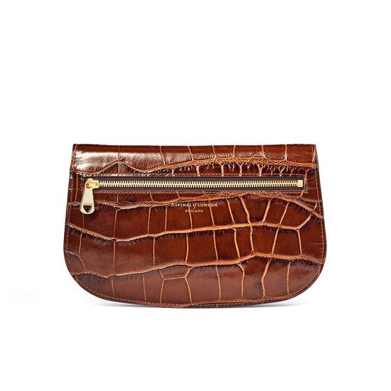 Equestrian Purse in Deep Shine Brown Soft Croc from Aspinal of London