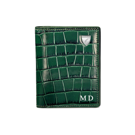 ID & Travel Card Holder in Deep Shine British Racing Green Small Croc from Aspinal of London