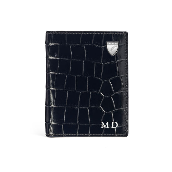 ID & Travel Card Holder in Deep Shine Black Small Croc from Aspinal of London
