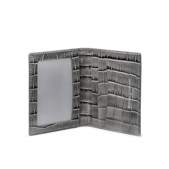 ID & Travel Card Holder in Deep Shine Grey Small Croc from Aspinal of London