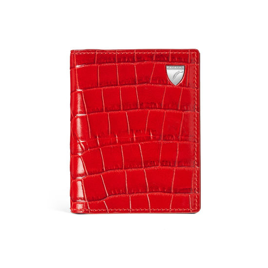 ID & Travel Card Holder in Deep Shine Red Small Croc from Aspinal of London