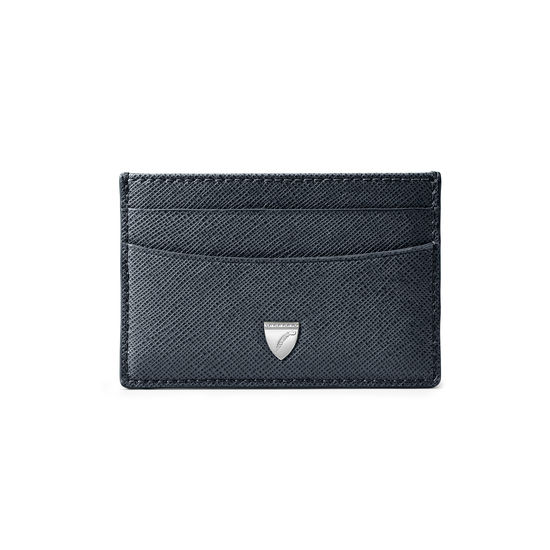 Slim Credit Card Holder in Navy Saffiano from Aspinal of London