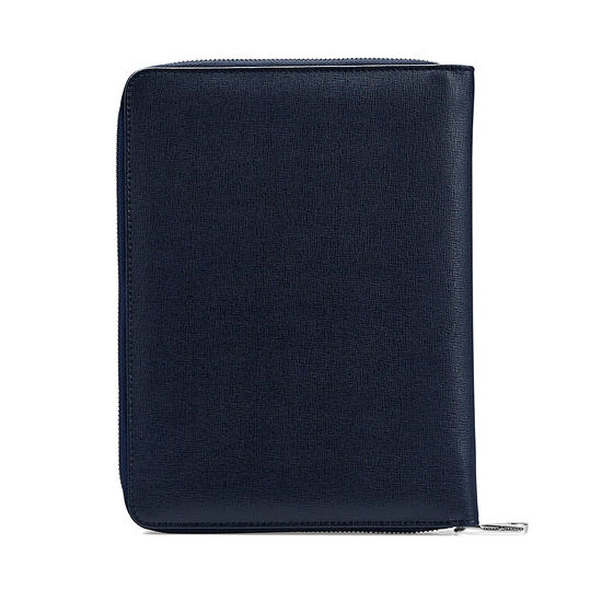 A5 Zipped Padfolio in Navy Saffiano & Cream Suede from Aspinal of London