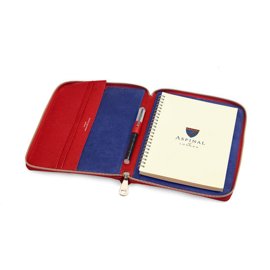 A5 Zipped Padfolio in Scarlet Saffiano from Aspinal of London