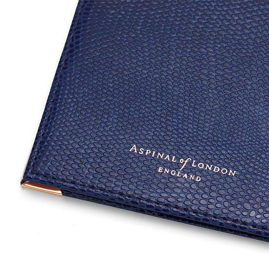 Passport Cover in Navy Lizard from Aspinal of London