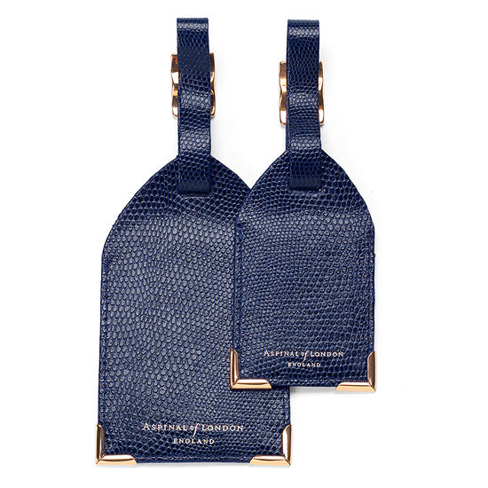 Set of 2 Luggage Tags in Navy Lizard from Aspinal of London