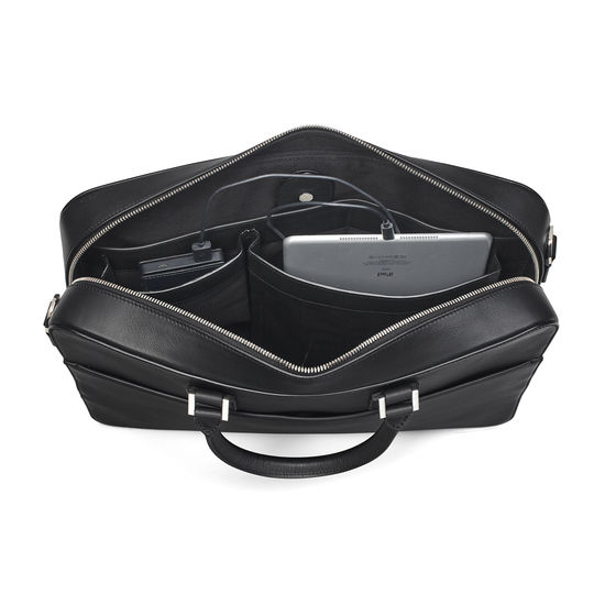 Small Mount Street Laptop Bag in Smooth Black from Aspinal of London