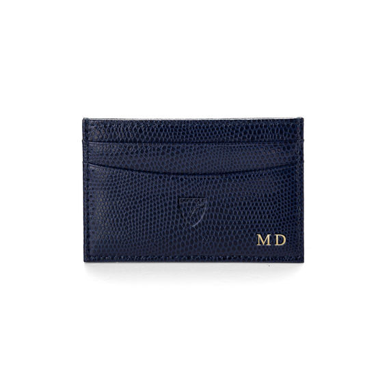 Slim Credit Card Case in Midnight Blue Lizard from Aspinal of London