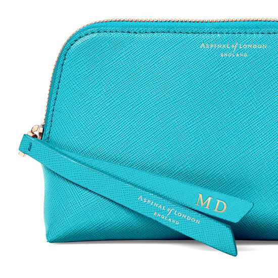 Small Essential Cosmetic Case in Smooth Turquoise from Aspinal of London