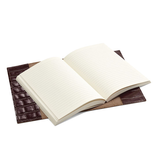 Refillable Pocket Notebook in Amazon Brown Croc from Aspinal of London