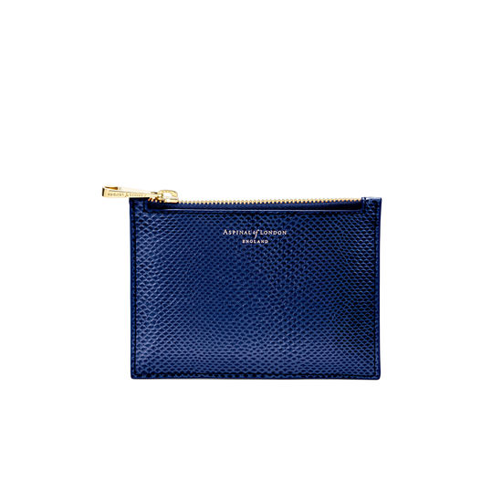 Small Essential Flat Pouch in Midnight Blue Lizard from Aspinal of London