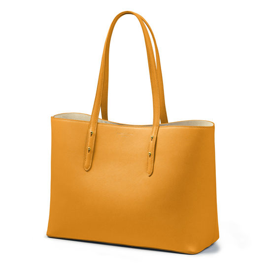 Regent Tote in Mustard Saffiano from Aspinal of London