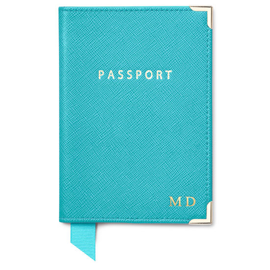 Passport Cover in Turquoise Saffiano from Aspinal of London