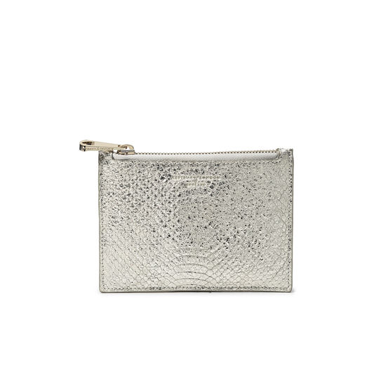 Small Essential Flat Pouch in Silver Python Print from Aspinal of London