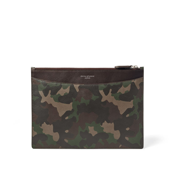 Mount Street Flat Pouch in Smooth Camouflage Print with Dark Brown Trim from Aspinal of London
