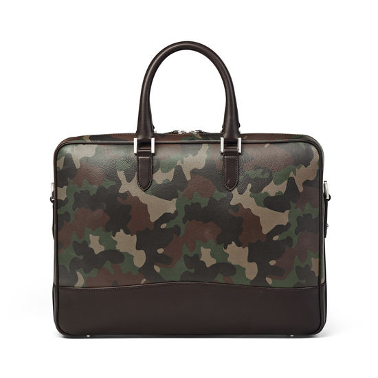 City Laptop Bag in Camouflage Print with Dark Brown Trim from Aspinal of London