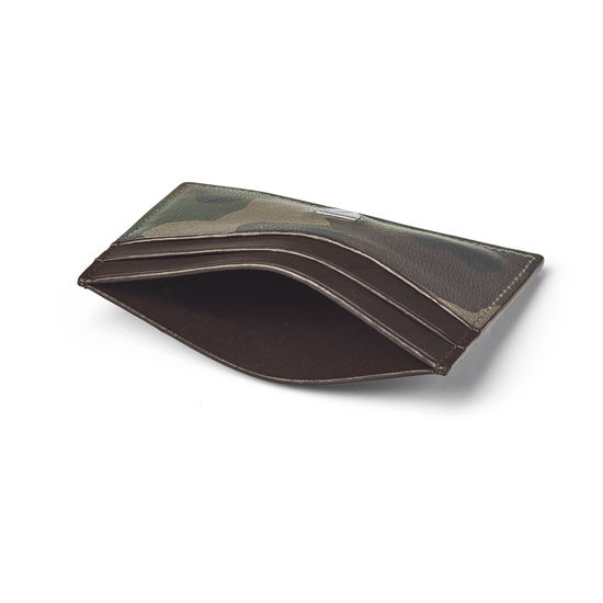 Slim Credit Card Holder in Camouflage Print with Dark Brown Trim from Aspinal of London