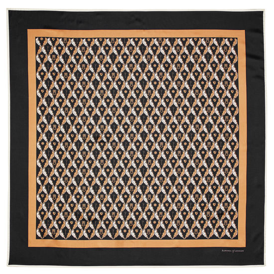 Harlequin Print Silk Scarf in Black & Gold from Aspinal of London