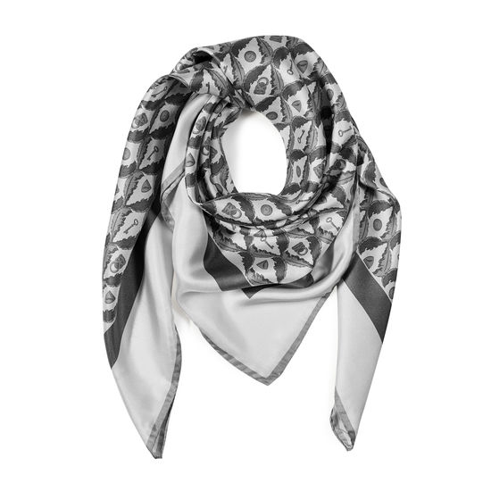 Harlequin Print Silk Scarf in Ivory & Grey from Aspinal of London