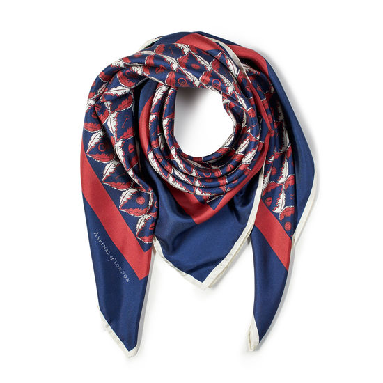Harlequin Print Silk Scarf in Navy & Bordeaux from Aspinal of London