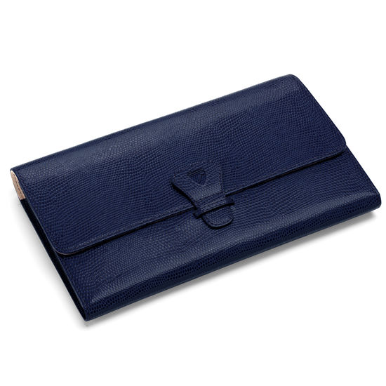 Classic Travel Wallet in Midnight Blue Lizard from Aspinal of London