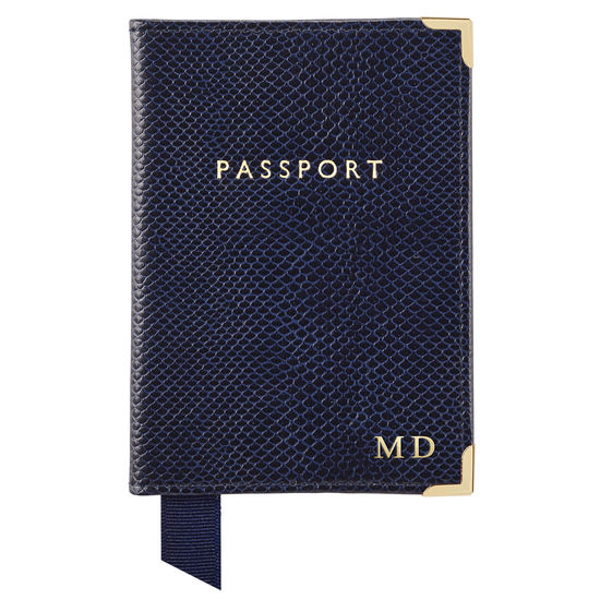 Passport Cover in Midnight Blue Lizard from Aspinal of London