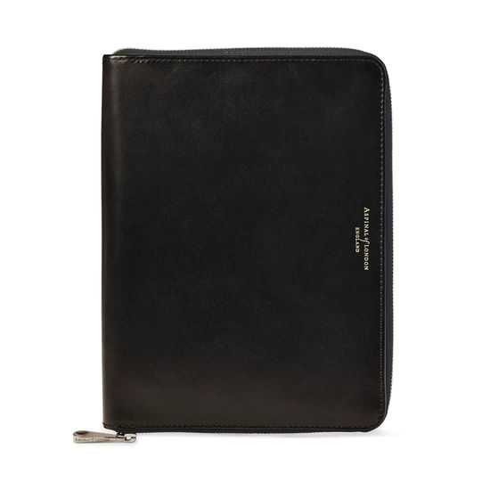 A5 Zipped Padfolio in Smooth Black from Aspinal of London