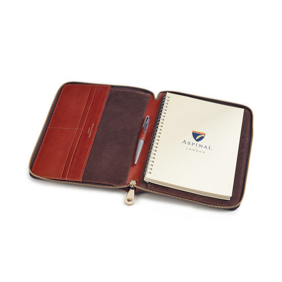 A5 Zipped Padfolio in Smooth Cognac from Aspinal of London