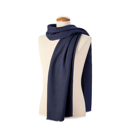 Diamond Weave Merino Wool Scarf in Navy from Aspinal of London