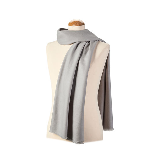 Diamond Weave Merino Wool Scarf in Dove Grey from Aspinal of London