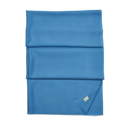Diamond Weave Merino Wool Scarf in Bluebird from Aspinal of London