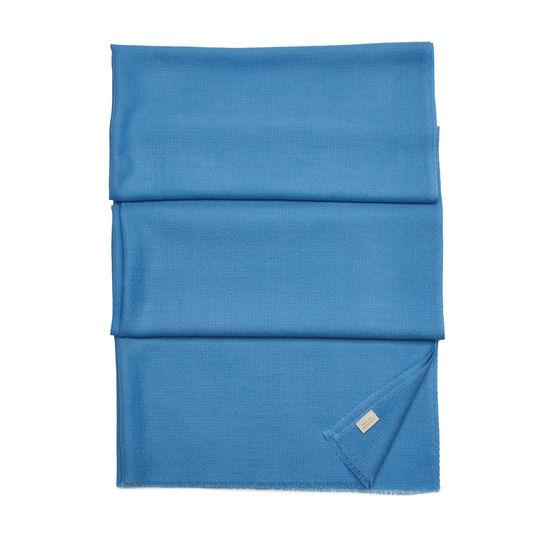 Diamond Weave Merino Wool Scarf in Bluebird from Aspinal of London