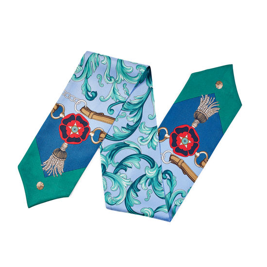 Signature Shield Silk Neck Bow Scarf in Petrol Blue & Emerald Green from Aspinal of London