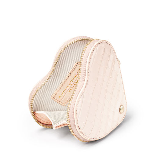 Heart Coin Purse in Deep Shine Shell Pink Small Croc from Aspinal of London