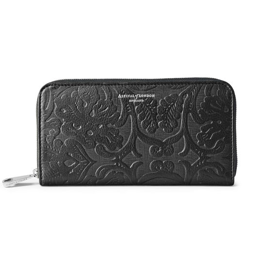 Continental Clutch Zip Wallet in Black Embossed Flower from Aspinal of London