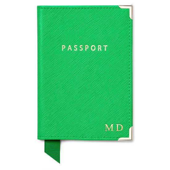 Passport Cover in Bright Green Saffiano & Ice Grey Suede from Aspinal of London