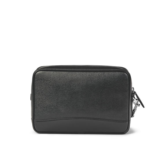 Men's City Clutch Bag in Black Saffiano & Smooth Black from Aspinal of London
