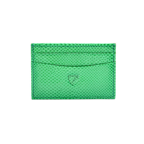 Slim Credit Card Case in Grass Green Lizard from Aspinal of London