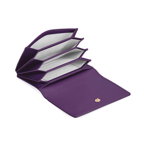 Accordion Credit Card Holder in Smooth Amethyst from Aspinal of London